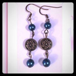 Jewelry - 💖✨Teal Blue Pearls Bronze Circles Earrings✨💖